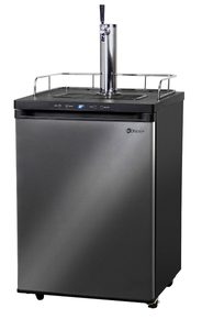 SINGLE-FAUCET HOME-BREW KEGERATOR - BLACK CABINET WITH BLACK STAINLESS STEEL DOOR