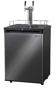 DUAL-FAUCET HOME-BREW KEGERATOR - BLACK CABINET WITH BLACK STAINLESS STEEL DOOR
