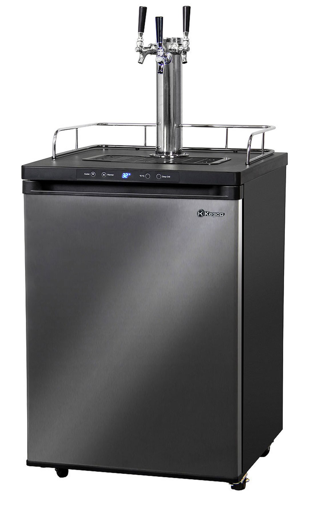 HBK309X-3 TRIPLE-FAUCET HOME-BREW KEGERATOR - BLACK CABINET WITH BLACK STAINLESS STEEL DOOR