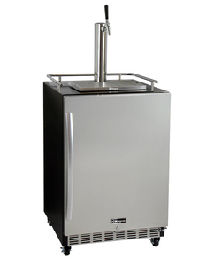 "24"" Wide Single Tap Stainless Steel Commercial Built-In Right Hinge Digital Kegerator with Kit"