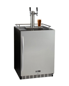 "24"" Wide Cold Brew Coffee Dual Tap Black Commercial Built-In Right Hinge Kegerator"