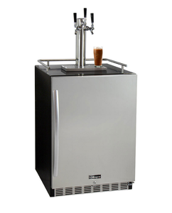 "24"" Wide Cold Brew Coffee Triple Tap Stainless Steel Commercial Built-In Right Hinge Kegerator"