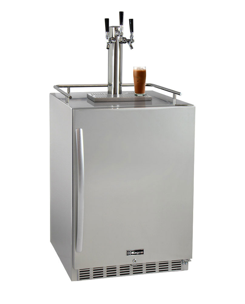 Brew Coffee Triple Tap All Stainless Steel Outdoor Built-In Right Hinge Kegerator