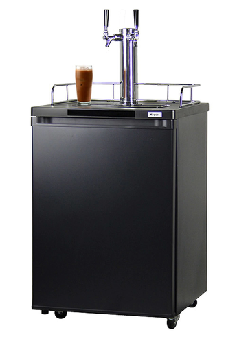 KEGCO ICK20B-2 DUAL FAUCET JAVARATOR COLD-BREW COFFEE DISPENSER WITH BLACK CABINET AND DOOR