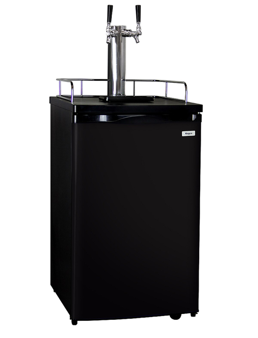 K199B-2 BEER KEG COOLER - TWO FAUCET - D SYSTEM - BLACK CABINET AND DOOR