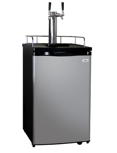 K199SS-2 KEGERATOR KEG BEER DISPENSER - DOUBLE FAUCET - D SYSTEM - BLACK CABINET WITH STAINLESS DOOR