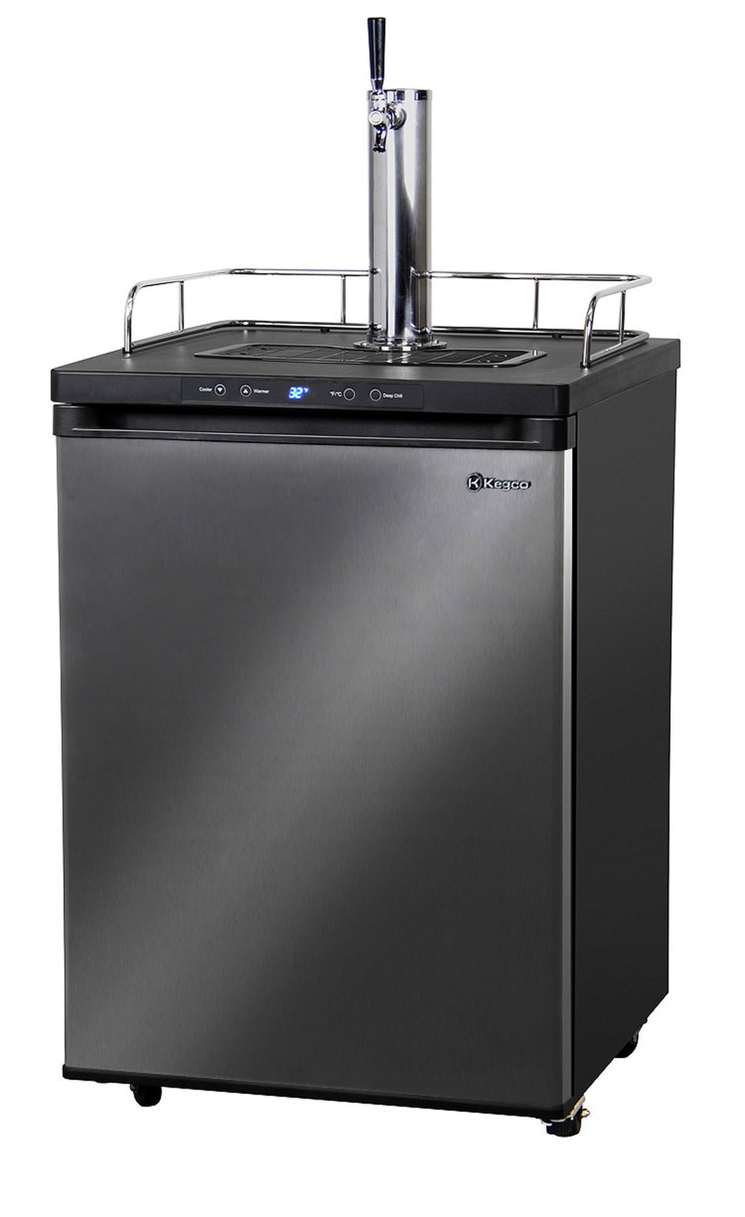DIGITAL DRAFT BEER DISPENSER - SINGLE FAUCET - D SYSTEM - BLACK STAINLESS DOOR