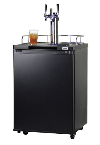 TRIPLE FAUCET KOMBUCHA KEG COOLER WITH BLACK CABINET AND DOOR