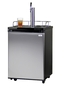 KEGCO KOM20S-1 KOMBUCHA COOLER DISPENSER WITH BLACK CABINET AND STAINLESS STEEL DOOR
