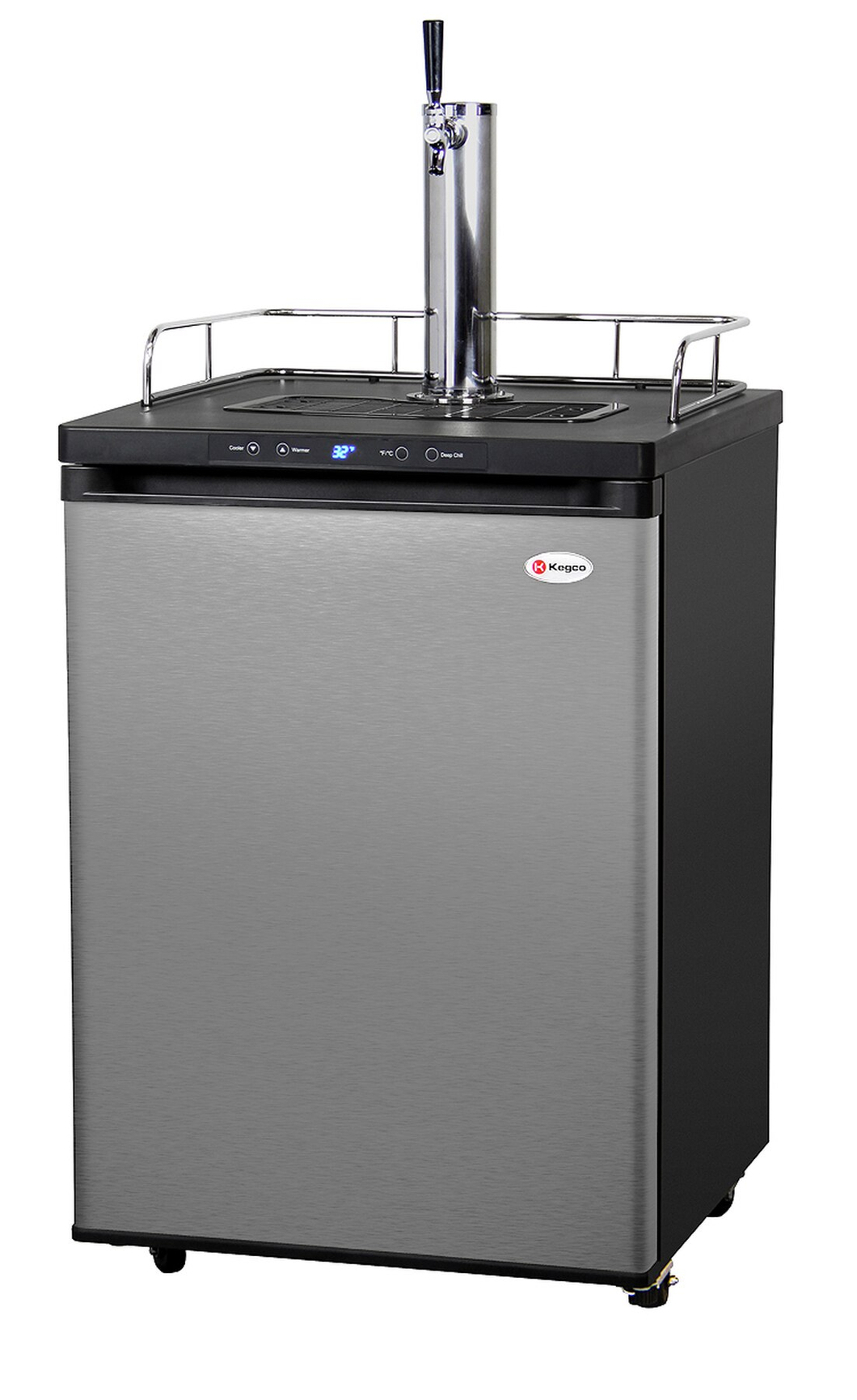 KEGCO KOM30S-1 DIGITAL KOMBUCHA KEG COOLER - BLACK CABINET WITH STAINLESS STEEL DOOR
