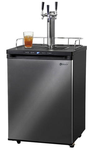 TRIPLE FAUCET DIGITAL KOMBUCHARATOR BLACK STAINLESS KOMBUCHA KEG COOLER