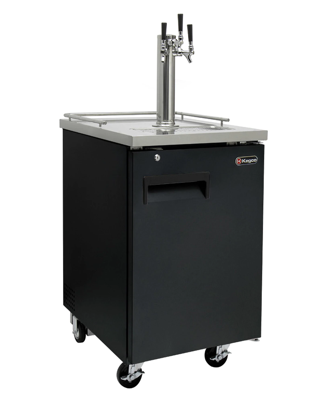 THREE TAP COMMERCIAL GRADE KEGERATOR - BLACK