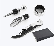 Load image into Gallery viewer, Wine Opener Gift Set, 4 Pieces, Wine Bottle Accessory Kit Includes: Stainless Steel Wine Corkscrew, Drop Ring, Wine Pourer, and Wine Stopper