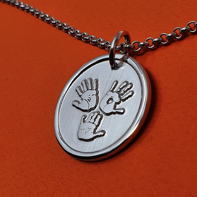Memento signature button silver personalised three hands template necklace jewellery