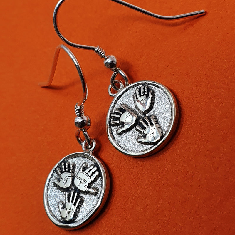 Memento signature button silver personalised three hands template earring jewellery