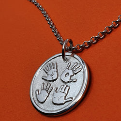 Memento signature button silver personalised four hands template necklace jewellery