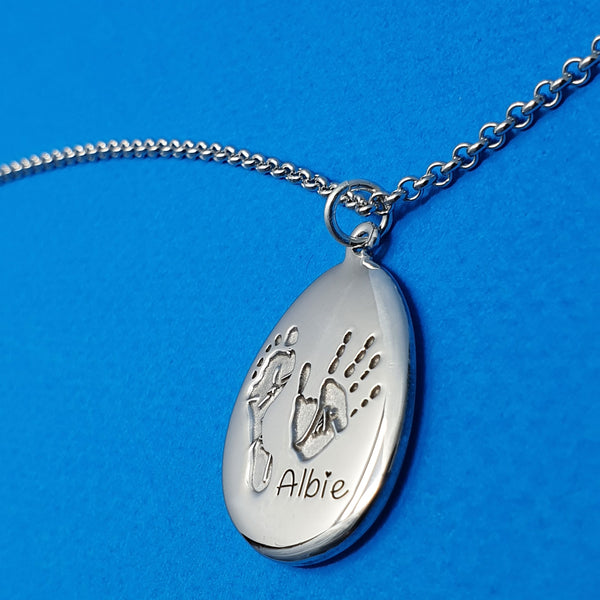 Memento silver personalised handprint & footprint signature pebble necklace  jewellery