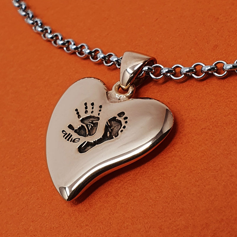 Memento silver & 9ct rose gold plated personalised handprint & footprint signature heart necklace jewellery