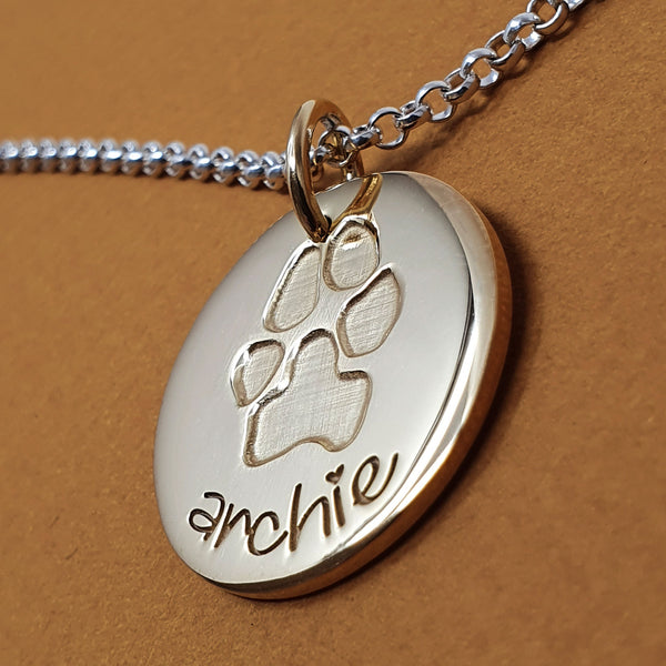 Memento 9ct gold plated personalised inked pawprint signature chunky button necklace jewellery