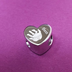 Memento silver personalised heart bead handprint & footprint bracelet charm jewellery