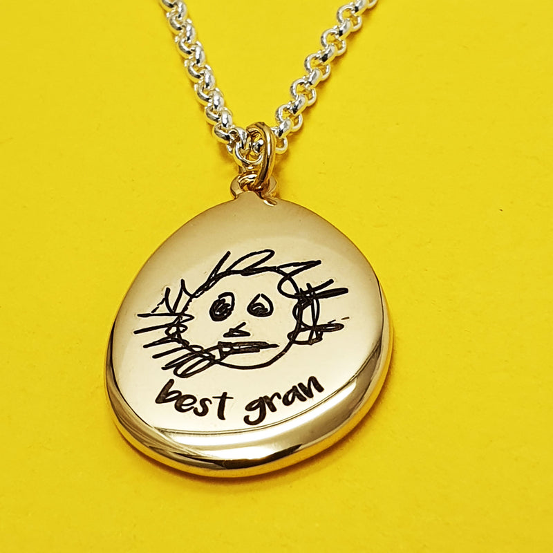 Memento 9ct yellow gold plated personalised hand drawing signature pebble necklace jewellery