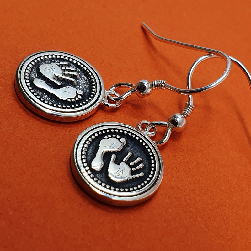 Memento signature button silver personalised handprint & footprint bullet template earring jewellery
