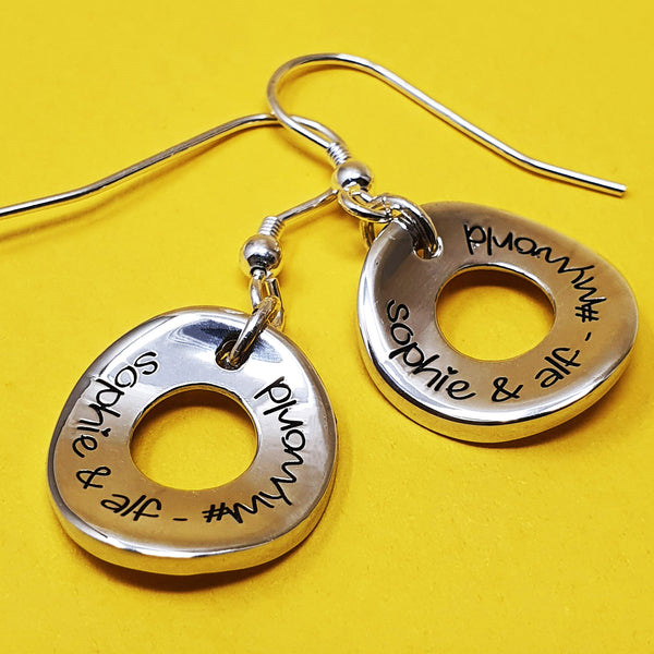Memento signature silver personalised special message circles of life earrings jewellery