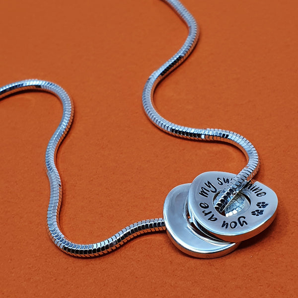 Memento silver snake necklace & personalised pawprint signature circles of life charms jewellery
