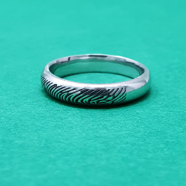 Memento Silver Personalised Fingerprint D Profile Ring Jewellery