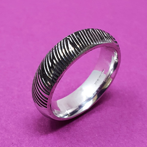 Memento Silver Personalised Fingerprint D Profile Wide Ring Jewellery
