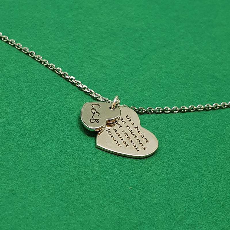 Memento Silver Personalised Special Message Double Heart Necklace Jewellery