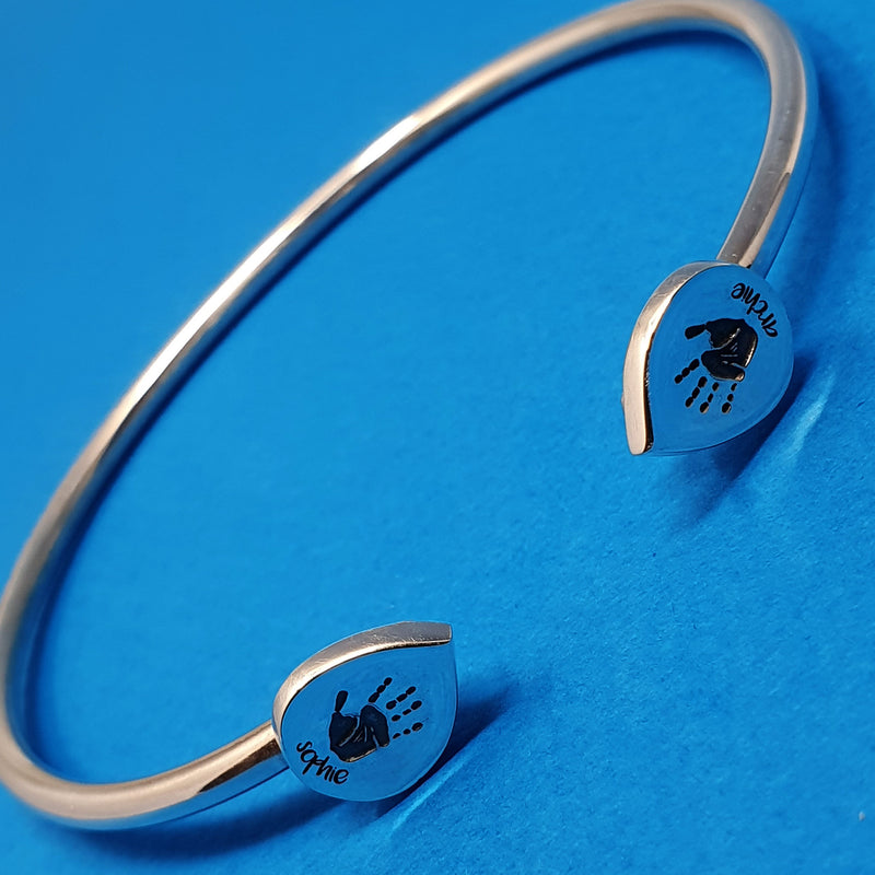 Memento silver personalised handprint & footprint signature duo peardrop bangle jewellery