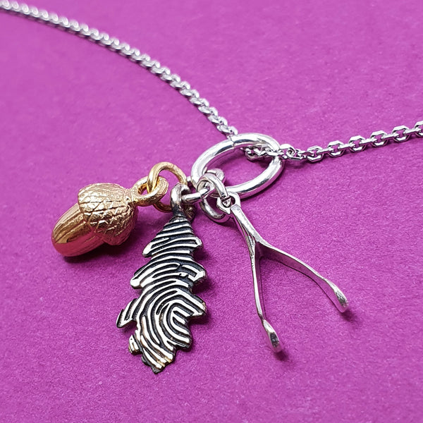 Memento silver personalised fingerprint oak leaf, acorn & wishbone necklace jewellery
