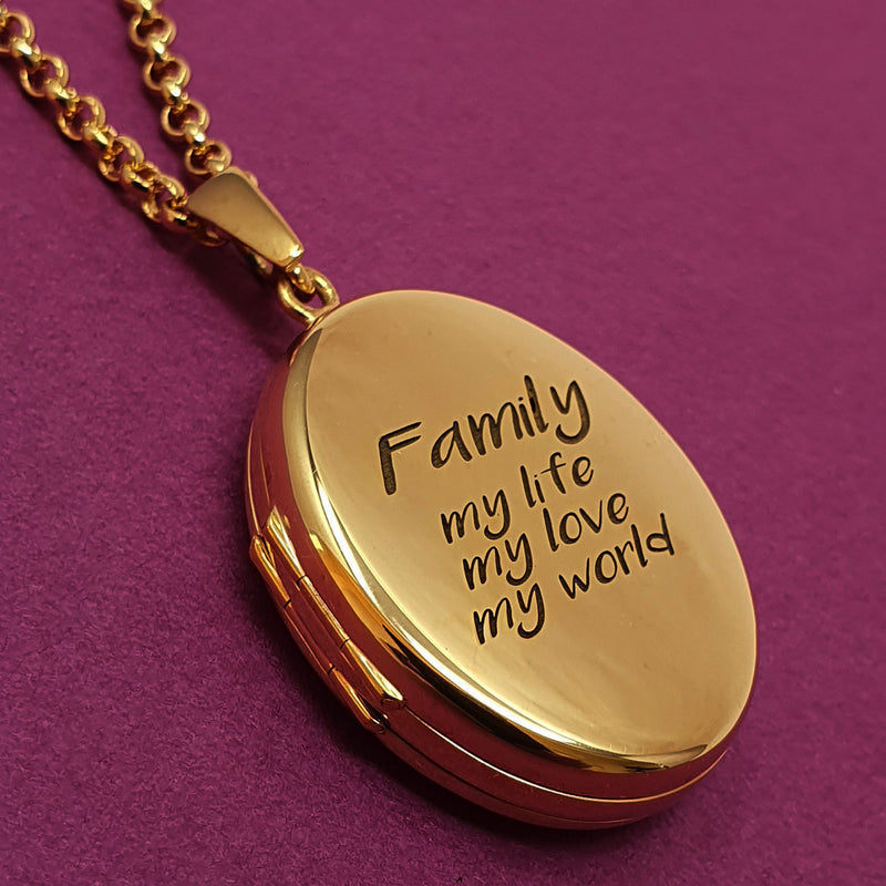 Memento 9ct rose gold plated personalised family photo locket necklace jewellery