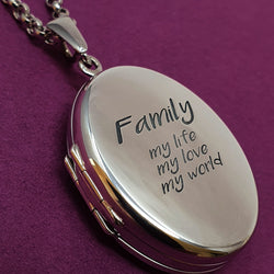 Memento silver personalised family photo locket necklace jewellery