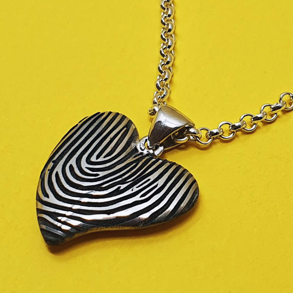 Fingerprint necklace - Memento silver personalised fingerprint signature heart necklace jewellery
