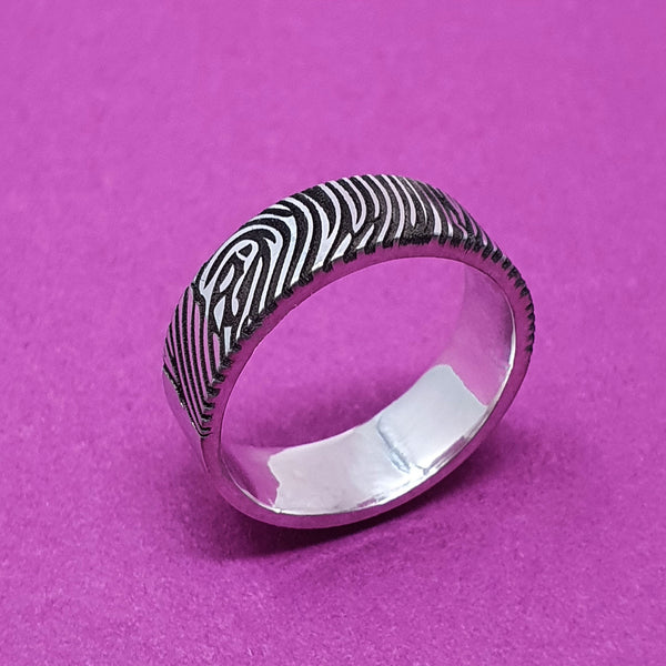 Memento Silver Personalised Fingerprint Flat Profile Wide Ring Jewellery