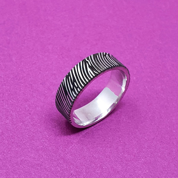 Memento Silver Personalised Fingerprint Flat Profile Ring Jewellery