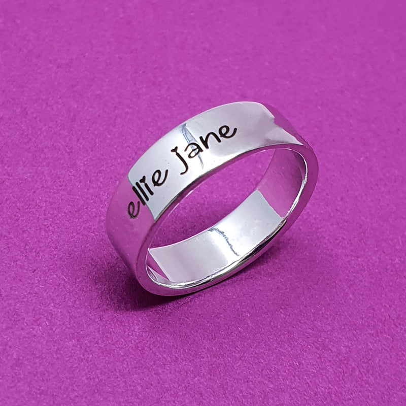 Memento Silver Personalised Special Message Flat Profile Wide Ring Jewellery