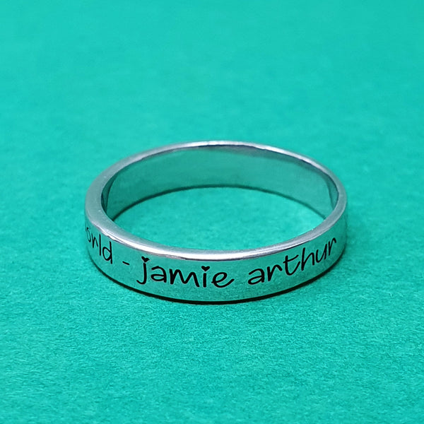 Memento Silver Personalised Special Message Flat Profile Ring Jewellery