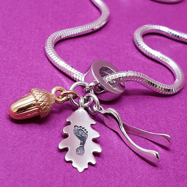 Memento silver personalised handprint & footprint signature wishbone, oak leaf & acorn charm jewellery