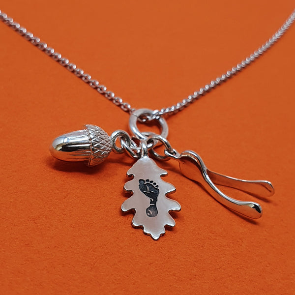 Memento silver personalised handprint & footprint oak leaf, acorn & wishbone necklace jewellery