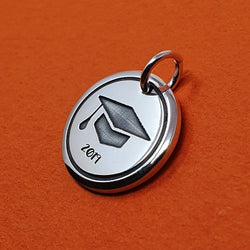 Memento silver personalised graduation signature chunky button charm jewellery