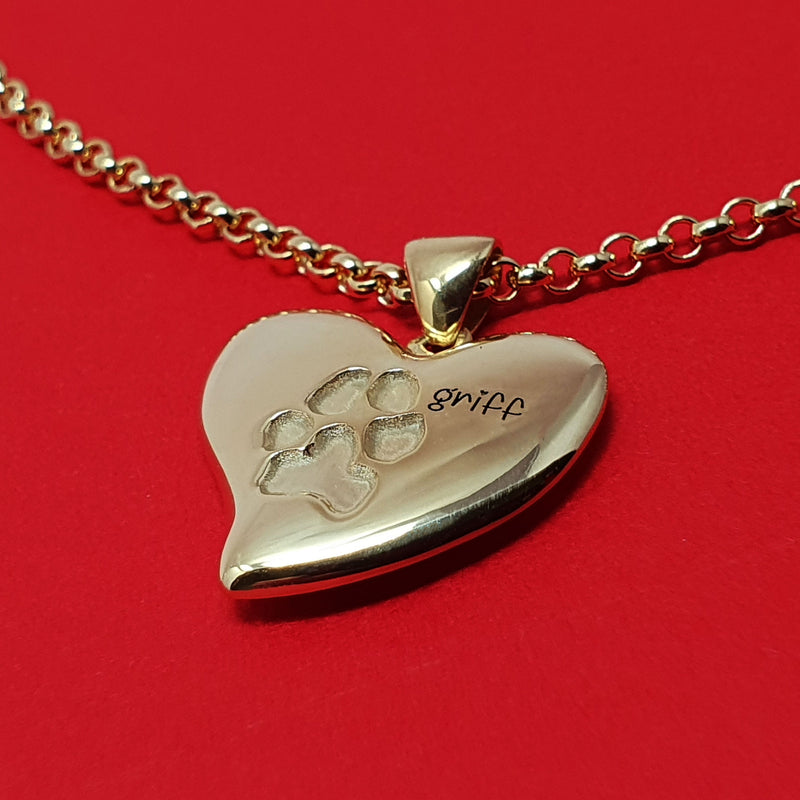 Memento 9ct yellow gold plated personalised pawprint signature heart necklace jewellery