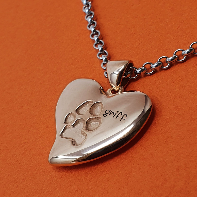 Memento silver & 9ct rose gold plated personalised pawprints signature heart necklace jewellery