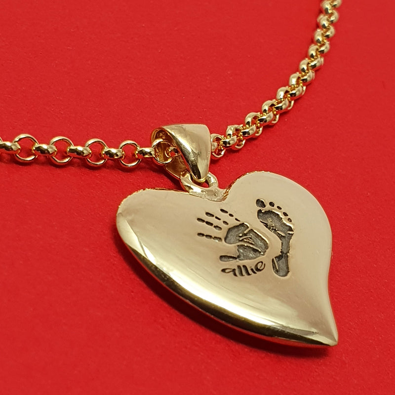 Memento 9ct yellow gold plated personalised handprint & footprint signature heart necklace jewellery
