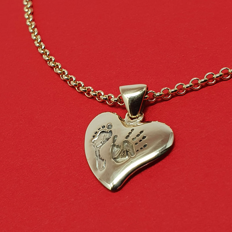Memento 9ct yellow gold plated personalised handprint & footprint small signature heart necklace jewellery