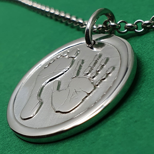 Memento signature button silver personalised handprint & footprint necklace jewellery