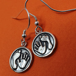 Memento signature button silver personalised handprint & footprint earring jewellery