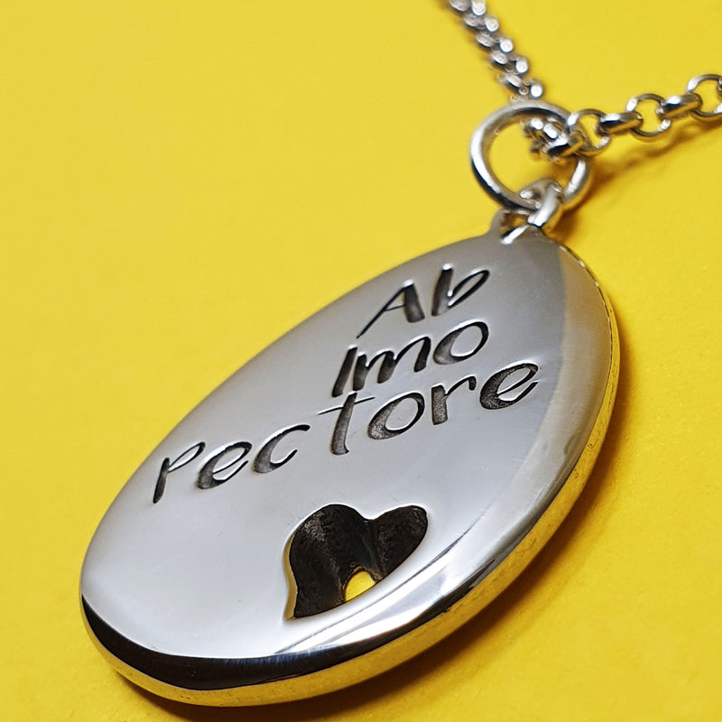 Memento silver personalised special message signature heart pebble necklace jewellery